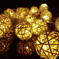 Decorative Hanging Battery Operated Rattan Cotton Ball String Light Christmas Led Cotton Ball Light