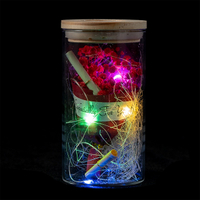 EVERMORE Red Open-herding With Natural Color Thread and Letter 4L Multicolor LED Bare Wire Glass Cover Light