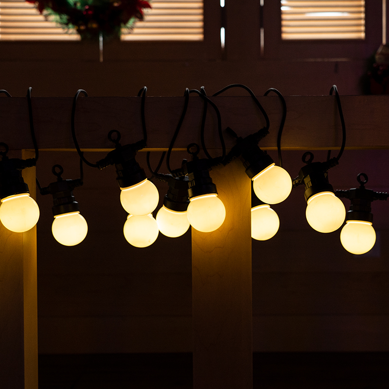 Outdoor Warm White Small LED Ball Globe String Lights