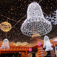 Christmas Decoration Large Size 3d Motif Wire Frame Jingle Bell Light for Public Shopping Mall Decoration
