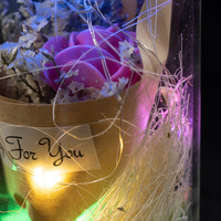 EVERMORE Pink Rose Dried flowers With Natural Color Thread and Letter 4L Multicolor LED Bare Wire Glass Cover Light